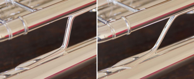 Links die Stützen einer modernen Stradivarius, rechts das Vintage-Design der Neuauflage.
